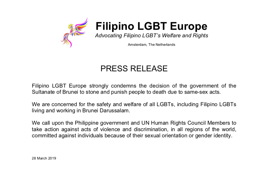 PRESS RELEASE: Filipino LGBT Europe strongly condemns the decision of the government of the Sultanate of Brunei to stone and punish people to death due to same-sex acts.