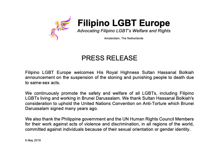 PRESS RELEASE: Filipino LGBT Europe welcomes His Royal Highness Sultan Hassanal Bolkiah announcement on the suspension of the stoning and punishing people to death due to same-sex acts.