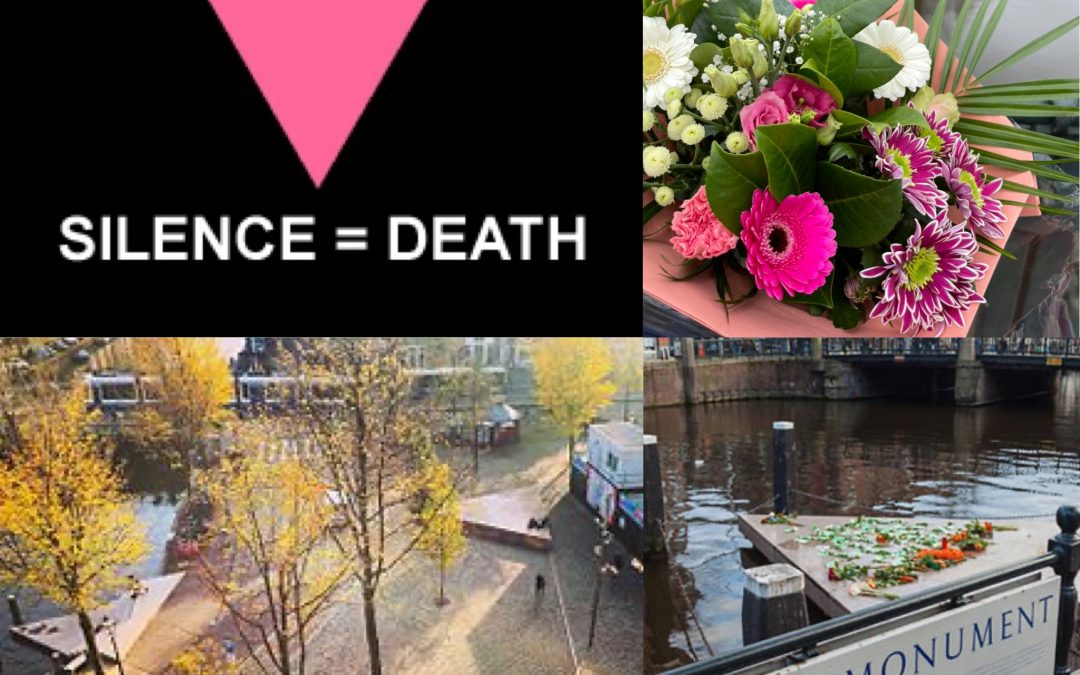 Flowers offered to commemorate the victims of persecution of homosexuals in Nazi Germany