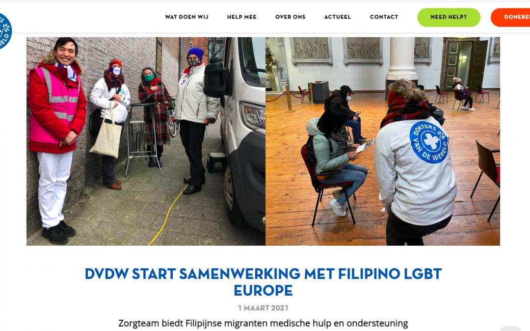 Dokters van de Wereld starts working with Filipino LGBT Europe
