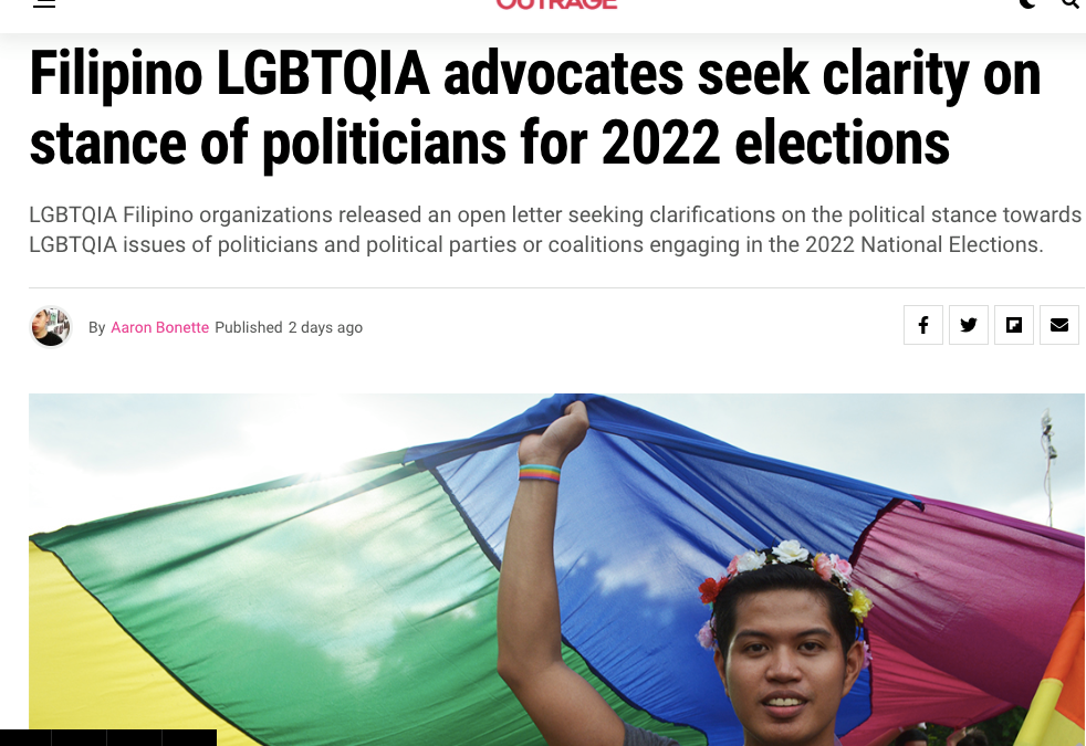 Filipino LGBT Europe joins more than 70 Filipino LGBTQIA+ organisations in an open letter that seeks clarifications on the political stance towards LGBTQIA issue