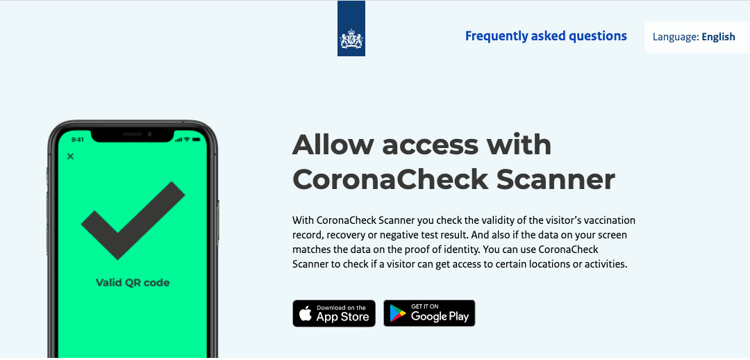 CoronaCheck Scanner provides Vaccination, Recovery and Negative Test Results