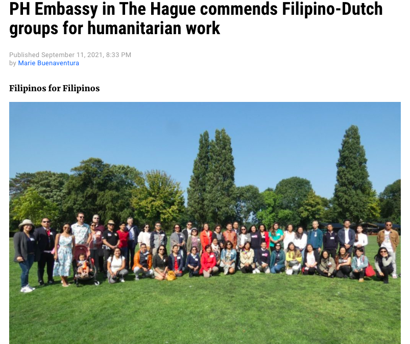 Manila Bulletin: PH Embassy in The Hague commends Filipino-Dutch groups for humanitarian work