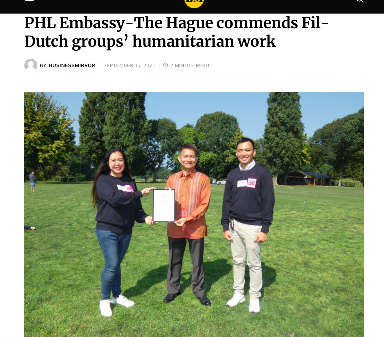 Business Mirror: PHL Embassy-The Hague commends Fil-Dutch groups' humanitarian work